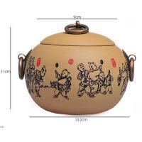 陶瓷故事 宜兴紫砂茶叶罐印花童戏醒茶罐茶道配件普洱储存罐