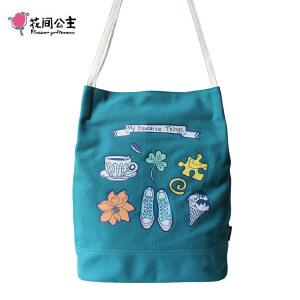 花间公主Favorite文艺清新夏季2017新款桶包女单肩帆布气质美包