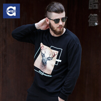 AMAPO潮牌大码男装 2016秋装新款胖男士加大号3D立体字母印花卫衣