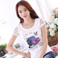 波柏龙 女短袖T恤纯白色夏季半袖tshirt圆领nv修身蕾丝拼接蕾