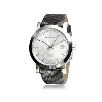 巴宝莉  时尚格纹皮带圆盘显日历情侣表 石英女士手表