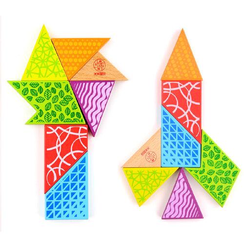 米米智玩 智力拼图 认知拼图 益智t字谜 四巧板 游戏智力玩具
