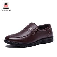 苹果 皮鞋男士商务休闲鞋 低帮套脚头层牛皮男鞋 时尚舒适便鞋潮流鞋子AP-1603