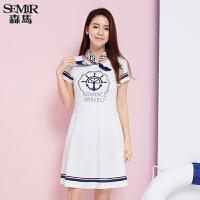 森马连衣裙 夏装 女士圆领短袖印花海洋风直筒裙子韩版潮