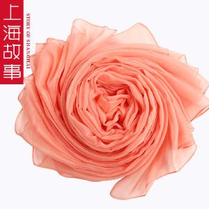 上海故事春秋女士加大加长雪纺围巾纯色丝巾围巾披肩沙滩巾纱巾