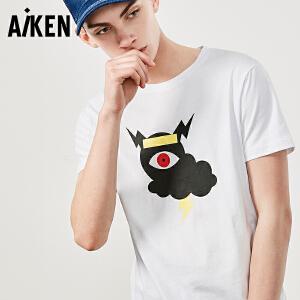 Aiken短袖T恤男士2017夏新款修身体恤纯棉上衣帅气图案印花半截袖