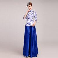古典舞蹈服装青花瓷连衣裙新款古筝演出服礼服合唱服装长裙女