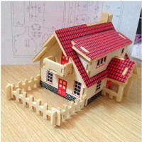 3D立体拼图 西式小屋 简单房子拼装模型 儿童手工拼插组装