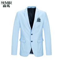 森马西服 春装新款 男士纯色休闲西装修身男装外套韩版