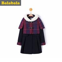 巴拉巴拉童装女童呢衣中大童学生上衣冬装新款毛呢外套