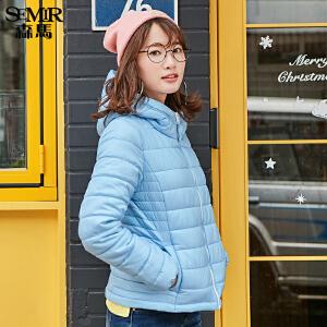 森马棉服冬装新款女士休闲连帽保暖纯色短款外套棉袄韩版潮