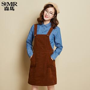 森马纯棉长袖衬衫 春秋装 女士波点纯棉娃娃牛仔衬衣韩版潮学生女