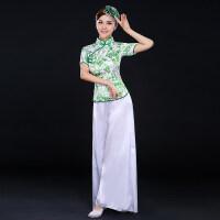 2016新款秧歌服演出服中老年扇子舞现代青花瓷广场舞古典舞服装女