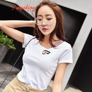 【满200减100】 2017夏季新款韩版拼接短款修身百搭短袖T恤女显瘦上衣
