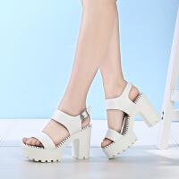 戈美其夏季性感韩版女鞋子高跟凉鞋简约浅口露趾方根女休闲鞋