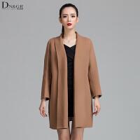 秋冬女士中长款开衫外套时尚休闲羊毛呢大衣C161255-1