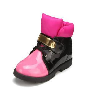 鞋柜SHOEBOX冬款撞色金属片魔术贴皮个性休闲靴子