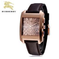 巴宝莉手表 英伦经典格纹矩形三眼石英男士腕表