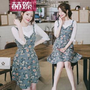 【赫��】2017夏季新款韩版学生小清新套装碎花吊带裙子两件套雪纺连衣裙女H6735