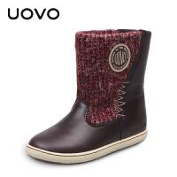 【满200减100】UOVO2017冬季新款童鞋女童保暖休闲靴子儿童雪地靴  卑尔根