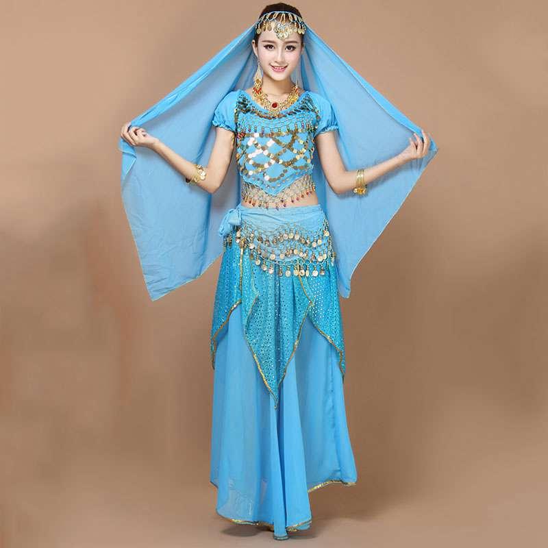 新款成人印度舞蹈服装肚皮舞服装套装 演出服高密度雪纺手工串珠不
