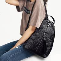 玛罗士 新款包包女包2017欧美风鳄鱼纹双肩包简约流苏背包休闲书包