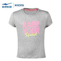 鸿星尔克erke童装 女童圆领短袖针织衫清凉吸汗儿童运动短T新款学生短袖T恤