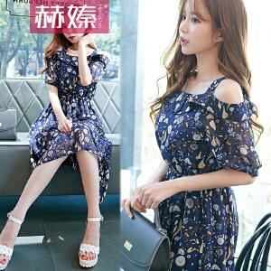 【满400件200】【赫��】2017年夏季新款韩版短袖女装修身显瘦吊带时尚雪纺连衣裙H6745