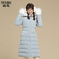 森马羽绒服 2015冬装新款 女士可拆卸帽长款休闲直筒纯色外套韩版