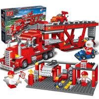 邦宝正品 益智力拼装积木 儿童拼插塑料玩具 大型货柜车 赛车跑车