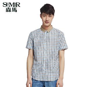 森马男装夏装新款短袖衬衫 男士 棉格子衬衣 韩版休闲上衣潮