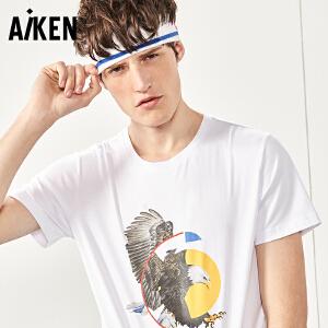 Aiken短袖T恤男士2017夏装新款修身圆领半袖男纯棉美式街头上衣潮