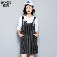 森马连衣裙 秋装 女士简约条纹字母印花背带直筒裙子韩版