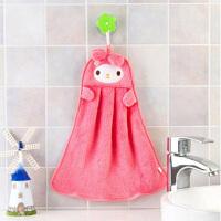 卡通加厚珊瑚绒擦手巾 厨房浴室强吸水挂式搽手巾厨房抹布洗碗布毛巾 粉米菲兔