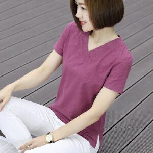 【满200减100】短袖女夏装T恤韩版纯竹节棉打底衫夏季女装不规则宽松v领上衣