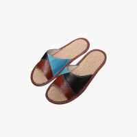 当当优品 真皮牛皮拖鞋 时尚三角拼色 防滑牛筋底 保护地板拖鞋 居家休闲 T1669(多色可选)