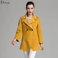 秋冬女士中长款外套翻领修身双面羊毛大衣休闲女装C16031-1