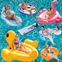 INTEX儿童成人水上坐骑动物充气玩具火烈鸟温泉浮排浮床游泳圈 动物造型儿童坐骑海豚鲨鱼大号乌龟水上玩具宝宝游泳圈