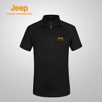 【特价清仓】Jeep/吉普 夏季男士户外透气舒适速干休闲翻领polo衫J631107021