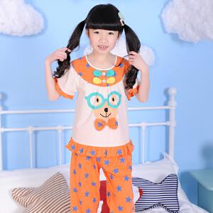 阿拉兜 2017夏季女童睡衣 高端儿童睡衣纯棉套装 女孩宝宝居家服 3342