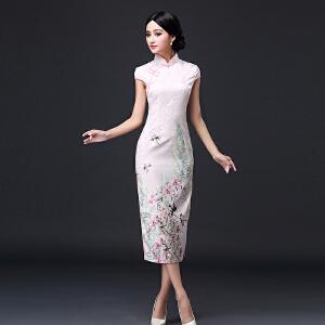 波柏龙 夏装新款气质复古中式唐装旗袍古典优雅改良长款连衣裙