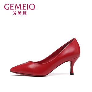 戈美其秋季新款优雅职业女鞋浅口细跟尖头单鞋女红色高跟鞋