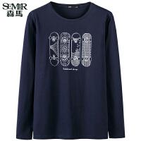 森马长袖T恤 2017春装新款 男士滑板印花青年学生上衣打底衫韩版