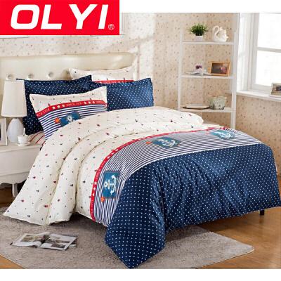 OLYI 纯棉床上用品四件套 全棉斜纹活性印花床单式家纺四件套 纯棉床品四件套 床上四件套支持礼品卡 OLYI 家纺全棉床品