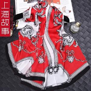 上海故事真丝女士韩版百搭春秋围巾桑蚕丝丝巾长款披肩夏季空调披肩