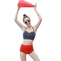 波点泳衣女 女士泳衣高腰泳衣 分体泳衣欧美风波点泳装女
