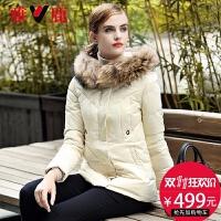 雅鹿羽绒服女中长款加厚修身大毛领显瘦韩版外套 YQ1101170
