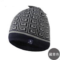 男士户外帽子套头帽针织帽格子嘻哈帽 秋冬季毛线帽