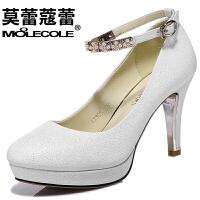 莫蕾蔻蕾 女鞋休闲高跟休闲韩版水钻低帮鞋粗跟单鞋潮 6X305