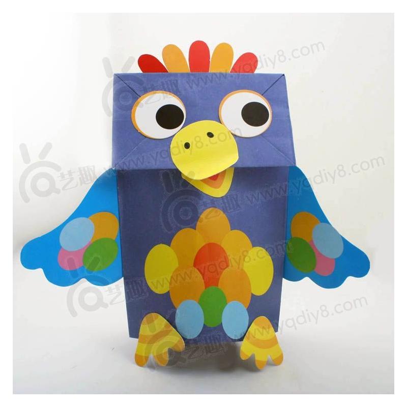 材料手工diy儿童手工制作幼儿手工diy--小鸟纸袋手偶